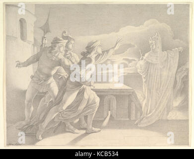 Hamlet and the Ghost of his Father, mid-19th century, Pen and gray ink, over graphite; double framing line in pen - Stock Photo