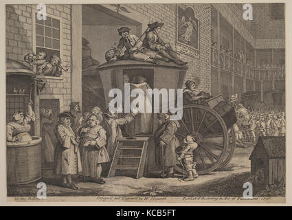 The Stage Coach, or The Country Inn Yard, William Hogarth, 1747 - Stock Photo