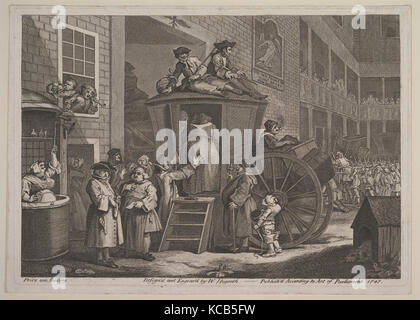 The Stage Coach, or Country Inn Yard, William Hogarth, June 1747 - Stock Photo