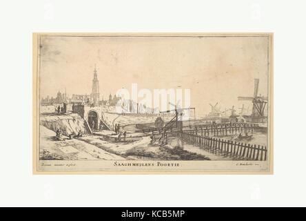 The Zaagmolen Gate, Reinier Nooms, called Zeeman, 17th century - Stock Photo