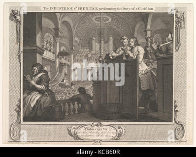 The Industrious 'Prentice Performing the Duty of a Christian (Industry and Idleness, plate 2), William Hogarth - Stock Photo