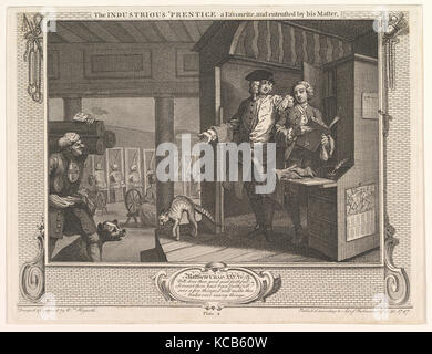 The Industrious 'Prentice a Favorite and Entrusted by his Master (Industry and Idleness, plate 4), William Hogarth - Stock Photo