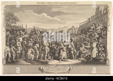 The Idle 'Prentice Executed at Tyburn: Industry and Idleness, plate 11, William Hogarth, September 30, 1747 - Stock Photo