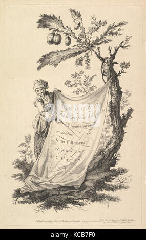 Title page: a smiling man holds a corner of a cloth tied to a fig tree and points with a stick to the cloth's inscription - Stock Photo