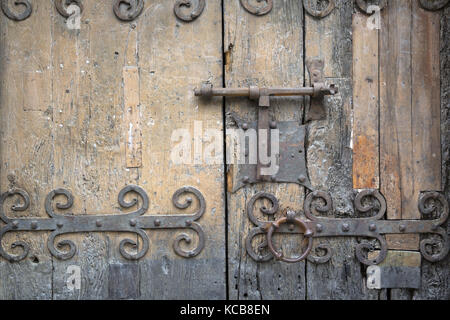 Detail of the doorway of the church of St Jacques Villefranche-de-Conflent, Pyrénées-Orientales - Stock Photo