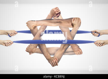 Israeli flag or Star of David made of holding hands - Stock Photo