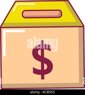 Box money icon, cartoon style - Stock Photo