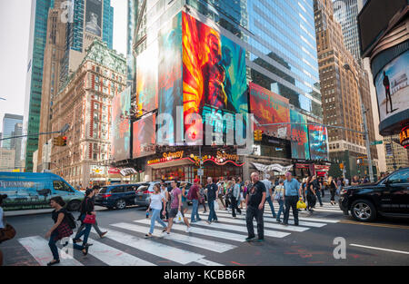 Advertising for the Warner Bros. Pictures'  'Blade Runner 2049' film is seen in Times Square in New York on Thursday, - Stock Photo