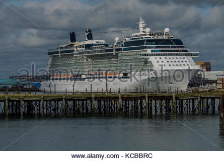 Celebrity Eclipse Cruise Ship Docked in Southampton Hampshire England Sept 2017 - Stock Photo