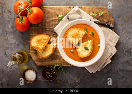 Tomato soup with grilled cheese sandwiches - Stock Photo
