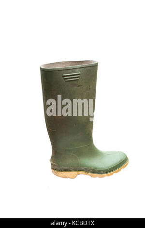 dirty green wellington boot isolated on white background - Stock Photo