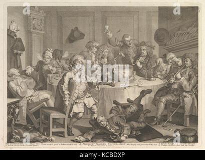A Midnight Modern Conversation, William Hogarth, March, 1732 - Stock Photo
