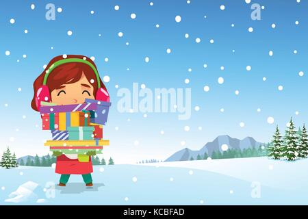 A vector illustration of Happy Girl Carrying Christmas Presents in the Snow - Stock Photo
