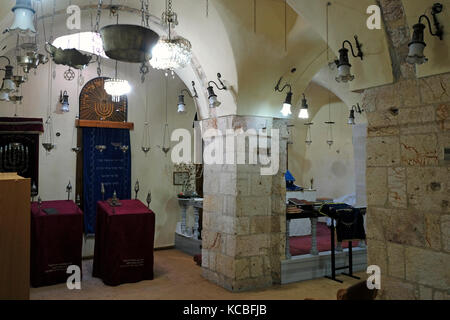 Interior of the Karaite synagogue the oldest active synagogue in Jerusalem built in the 8th century for the Karaites - Stock Photo
