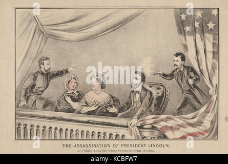 The Assassination of President Lincoln at Ford's Theatre, Washington D.C., April 14th, 1865, 1865 - Stock Photo