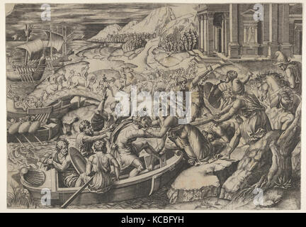 The abduction of Helen; battle scene on a shore with two men pulling Helen into a boat at center - Stock Photo