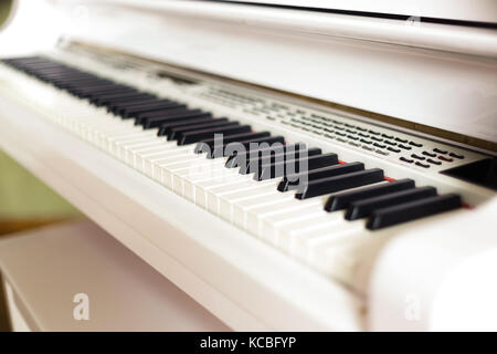 background of electronic grand piano keyboard, close up - Stock Photo