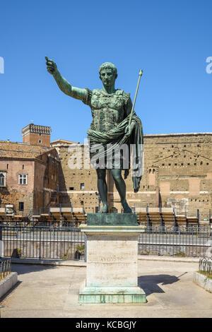 Roman Emperor Augustus Bronze Statue, Rome, Italy - Stock Photo