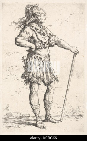 A warrior facing right wearing a plumed helmet and holding a staff, from the series 'Figurine', Salvator Rosa, ca. - Stock Photo