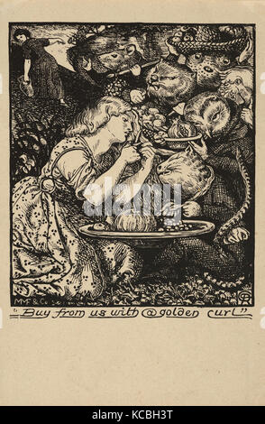 Drawings and Prints, Print, Buy from Us with a Golden Curl (frontispiece to Goblin Market and other Poems by Christina - Stock Photo