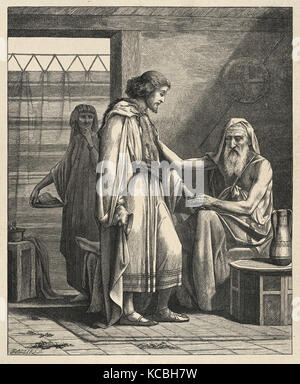 Isaac Blessing Jacob (Dalziels' Bible Gallery), After Edward Armitage, British, London 1817–1896 Tunbridge Wells, - Stock Photo