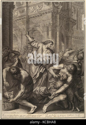 Drawings and Prints, Print, Christ Driving the Merchants from the Temple, from The Passion of Christ, plate 3, Grégoire - Stock Photo
