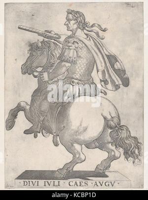Plate 1: Emperor Julius Caesar on Horseback, from 'The First Twelve Roman Caesars', Antonio Tempesta, 1596 - Stock Photo