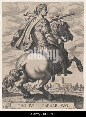 Plate 1: Emperor Julius Caesar on Horseback, from ' The First Twelve Roman Caesars', after Tempesta, Matthäus Merian - Stock Photo