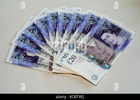 UK twenty pound banknotes - Stock Photo