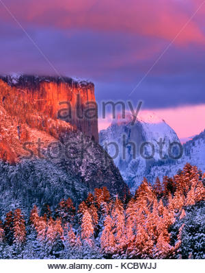 El Capitan and Half Dome at Sunset, Yosemite National Park, California - Stock Photo
