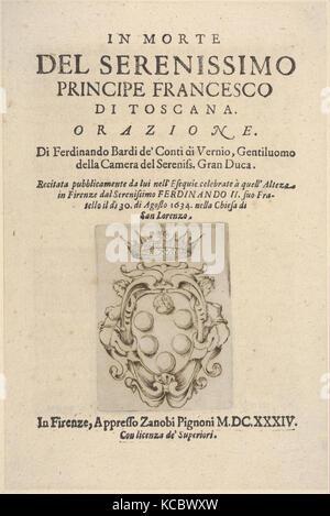 Title page 2: Medici coat of arms in bottom center, from 'In Morte del Serenissimo Principe Francesco di Toscana, - Stock Photo