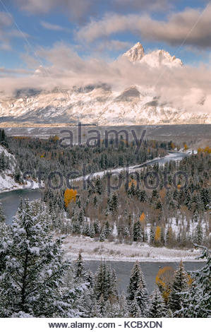 Clearing Winter Storm at Sunrise, Snake River Overlook, Grand Teton National Park, Wyoming - Stock Photo