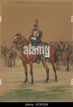 French Cuirassier, 1872, Watercolor, Sheet: 13 3/4 x 9 3/4 in. (34.9 x 24.8cm), Drawings - Stock Photo