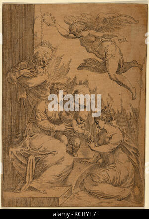 Drawings and Prints, Print, The Mystic Marriage of St. Catherine, Artist, After, Parmigianino - Stock Photo