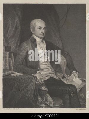 John Jay, 1834, Engraving on chine collé; second state of three, proof before the name, plate: 9 3/4 x 6 9/16 in. - Stock Photo