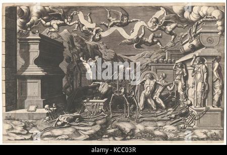 The Vision of Ezekiel; a group of corpses and skeletons emerging out of tombs, above them five winged putti holding - Stock Photo