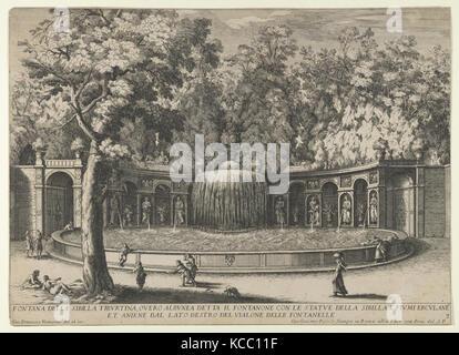 Book IV, plate 7: the fountain of the Tiburtine sibyl in the garden at Villa d'Este, Tivoli - Stock Photo