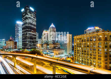 Rush hour traffic trails in downtown Pittsburgh, Pennsylvania. - Stock Photo