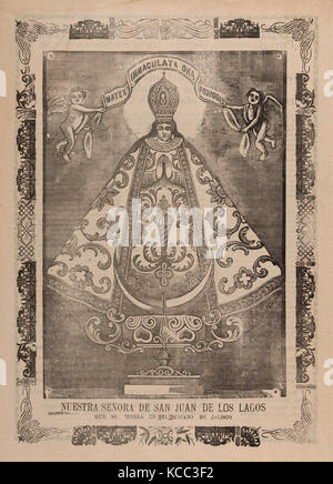 Broadsheet with image of Our Lady of San Juan de los Lagos, venerated in Jalisco, José Guadalupe Posada (Mexican, - Stock Photo