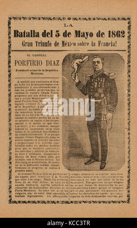 Broadside relating to a news story about the Mexican victory over the French army on May 5, 1862, General Porfirio - Stock Photo