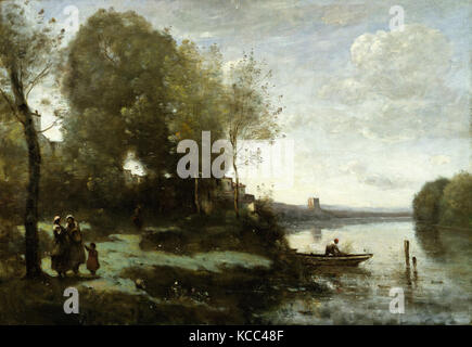 River with a Distant Tower, 1865, Oil on canvas, 21 1/2 x 30 7/8 in. (54.6 x 78.4 cm), Paintings, Camille Corot - Stock Photo