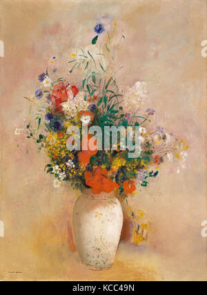 Vase of Flowers (Pink Background), Odilon Redon, ca. 1906 - Stock Photo