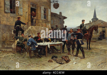 The Spy, 1880, Oil on canvas, 51 1/4 x 84 in. (130.2 x 213.4 cm), Paintings, Alphonse-Marie-Adolphe de Neuville - Stock Photo