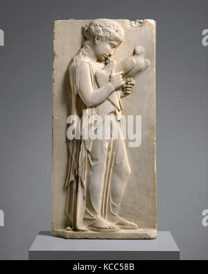 Marble grave stele of a little girl, ca. 450–440 B.C - Stock Photo