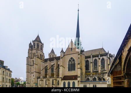 View of the cathedral, in Dijon, Burgundy, France - Stock Photo