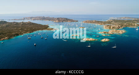 Aerial view of sailing yachts near islands between Sardinia and Corsica - Stock Photo