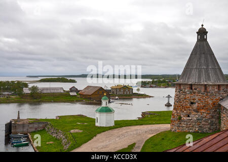 The Solovetsky Islands. Top view on the Bay of Prosperity and Herring Cape. - Stock Photo