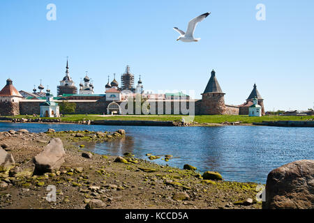 View on Solovetsky Monastery from the Bay of well-being, Russia. - Stock Photo