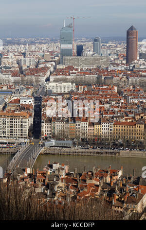 LYON, FRANCE, March 7, 2015 : Lyon is France's third largest city after Paris and Marseille, but together with its - Stock Photo