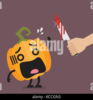 Hand with a knife prepare to cut the funny pumpkin character. Halloween concept Vector illustration - Stock Photo